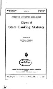 Cover of: Digest of state banking statutes | Samuel Alfred Welldon