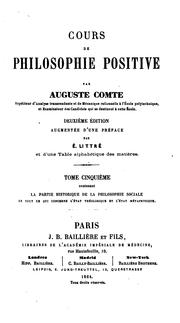 Cover of: Cours de philosophie positive | Auguste Comte