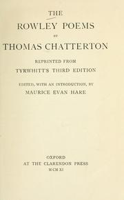 Cover of: The Rowley poems by Thomas Chatterton