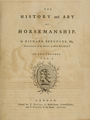 Cover of: The history and art of horsemanship by Richard Berenger