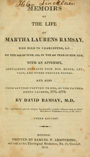 Cover of: Memoirs of the life of Martha Laurens Ramsay | Martha Laurens Ramsay