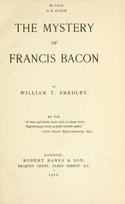 Cover of: The mystery of Francis Bacon by William T. Smedley