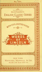 Cover of: ...T he words of Abraham Lincoln | Abraham Lincoln