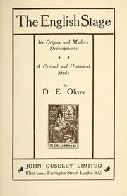 Cover of: The English stage | D. E. Oliver