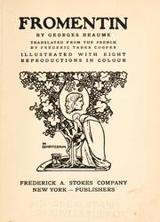 Cover of: Fromentin | Beaume, Georges, 1861-1940