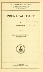 Cover of: Prenatal care | Mary Mills West