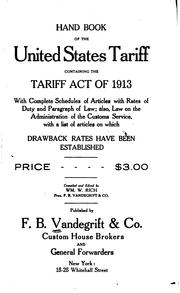 Cover of: Hand book of the United States tariff | Vandegrift, F.B., & Co.