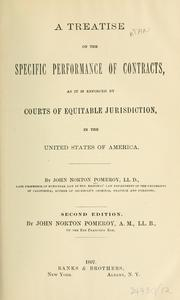 Cover of: A treatise on the specific performance of contracts by Pomeroy, John Norton