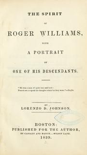 Cover of: The spirit of Roger Williams | Lorenzo Dow Johnson