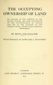 Cover of: The occupying ownership of land by Bevil Tollemache