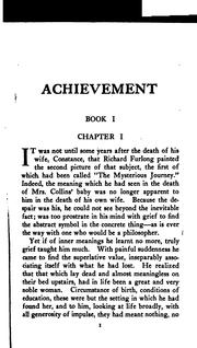 Cover of: Achievement | Ernest Temple Thurston