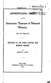 Cover of: Societies of the Crow, Hidatsa and Mandan Indians | Lowie, Robert Harry