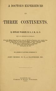 Cover of: A doctor's experiences in three continents by Warren, Edward