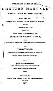 Cover of: Lexicon manuale græco-latinum et latino-græcum | Cornelis Schrevel