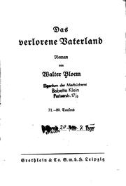 Cover of: Das verlorene Vaterland by Bloem, Walter
