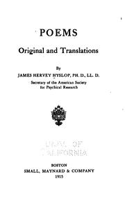 Cover of: Poems, original and translations | Hyslop, James H.