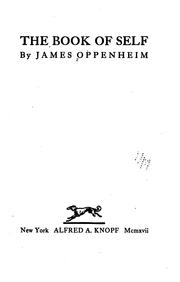Cover of: The book of self | Oppenheim, James
