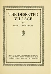 Cover of: The deserted village by Oliver Goldsmith