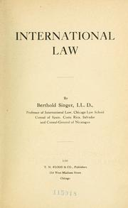 Cover of: International law | Singer, B.
