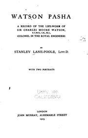 Cover of: Watson Pasha by Stanley Lane-Poole