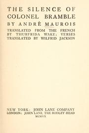 Cover of: The silence of Colonel Bramble | André Maurois