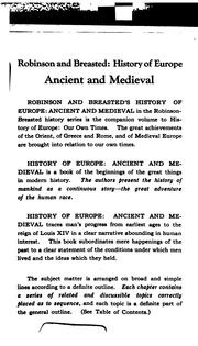 Cover of: History of Europe, ancient and medieval | James Henry Breasted