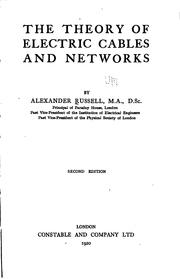 Cover of: The theory of electric cables and networks by Russell, Alexander