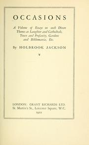 Cover of: Occasions | Holbrook Jackson
