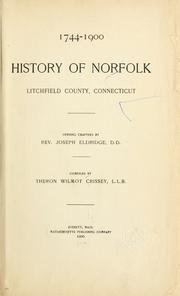 Cover of: History of Norfolk, Litchfield County, Connecticut by Theron Wilmot Crissey