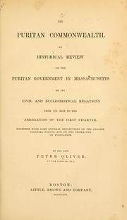 Cover of: The Puritan commonwealth | Oliver, Peter