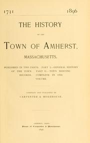 Cover of: The history of the town of Amherst, Massachusetts | Edward Wilton Carpenter