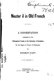 Cover of: Neuter il in old French | Herman Piatt