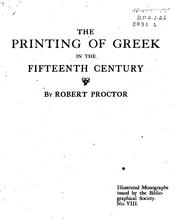 Cover of: The printing of Greek in the fifteenth century by Proctor, Robert