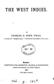 Cover of: The West Indies | Charles H. Eden