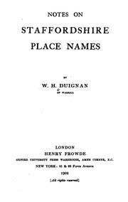 Cover of: Notes on Staffordshire place names | Duignan, W. H.