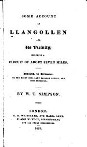 Cover of: Some account of Llangollen and its vicinity | W. T. Simpson