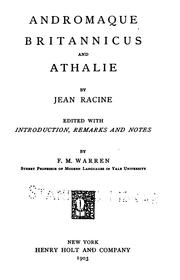 Cover of: Andromaque, Britannicus and Athalie | Jean Racine