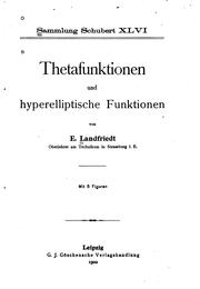 Cover of: Thetafunktionen und hyperelliptische funktionen by E. Landfriedt