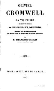 Cover of: Olivier Cromwell by Philarète Chasles