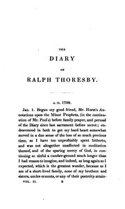 Cover of: The diary of Ralph Thoresby... (1677-1724) | Thoresby, Ralph