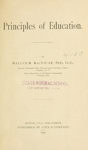 Cover of: Principles of education | MacVicar, Malcolm