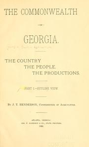 Cover of: The commonwealth of Georgia | Georgia. Dept. of Agriculture.