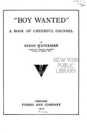 "Cover of: ""Boy wanted"" by Waterman, Nixon"