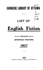 Cover of: List of English fiction by Ottawa Public Library.