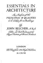 Cover of: Essentials in architecture | Belcher, John