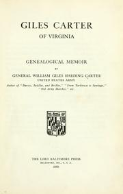 Cover of: Giles Carter of Virginia | Carter, William H.