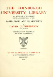 Cover of: The Edinburgh University Library by David Cuthbertson