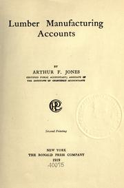 Cover of: Lumber manufacturing accounts | Arthur Francis Jones