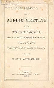 Cover of: Proceedings of a public meeting of the citizens of Providence | Providence (R.I.). Citizens.