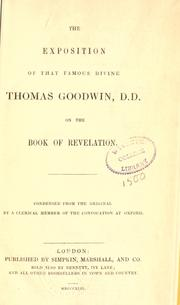 Cover of: The Exposition of Thomas Goodwin on the Book of Revelation by Goodwin, Thomas